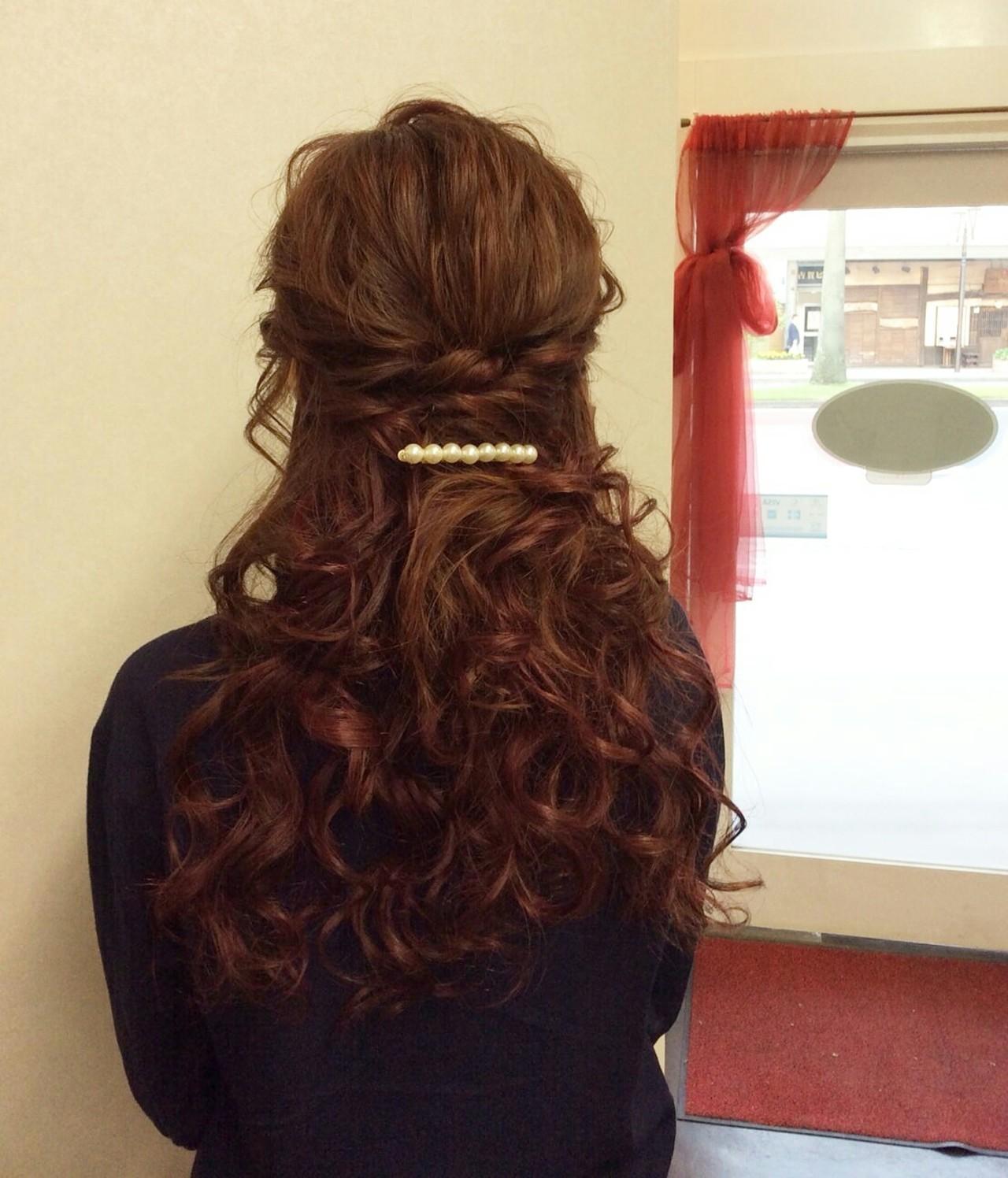 ハーフ アップ カラー ドレス 髪型