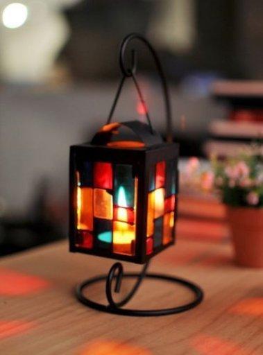 【univarc】虹色ガラス キャンドルスタンド 吊りフック付き ステンドグラス 格子デザイン アンティーク インテリア