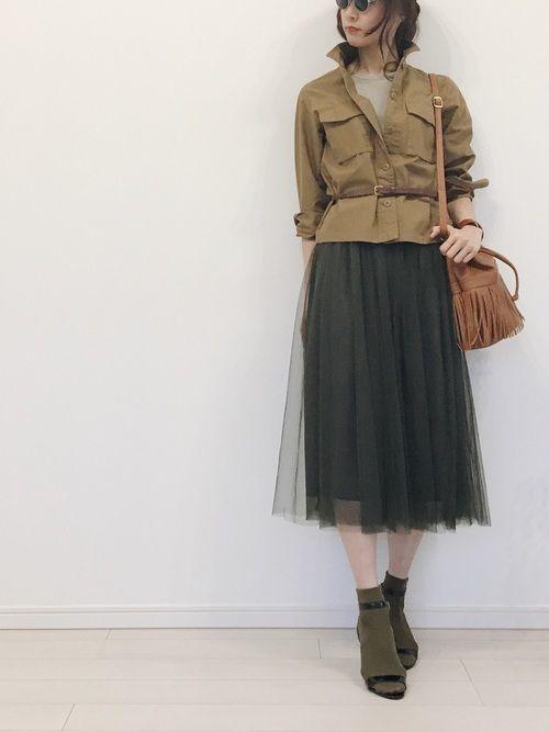 定番アイテムチュールスカート♡2019年おすすめモテコーデ20選の14枚目の画像