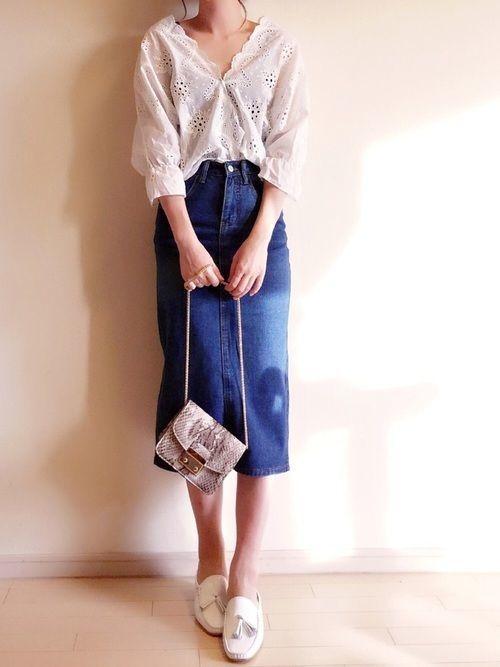 大人女子必見♡ペンシルスカートでつくる夏→秋着回しコーデの3枚目の画像