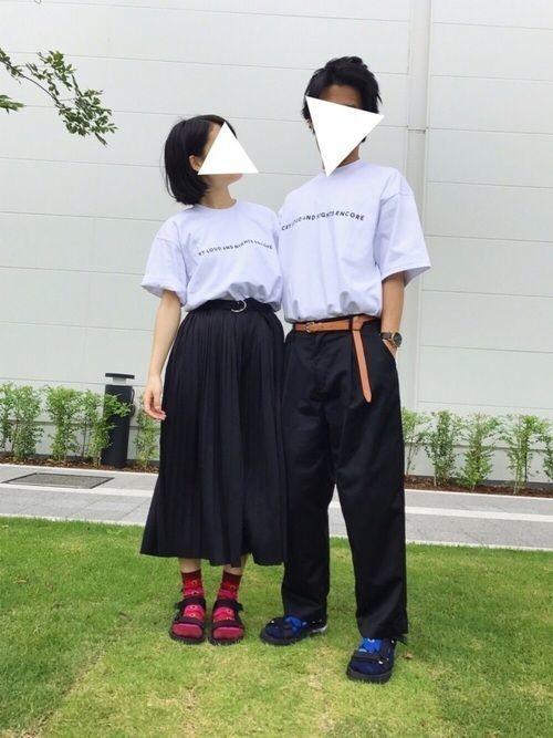 お手軽ペアルック!この夏にカップルで着たい白Tシャツコーデ特集♡