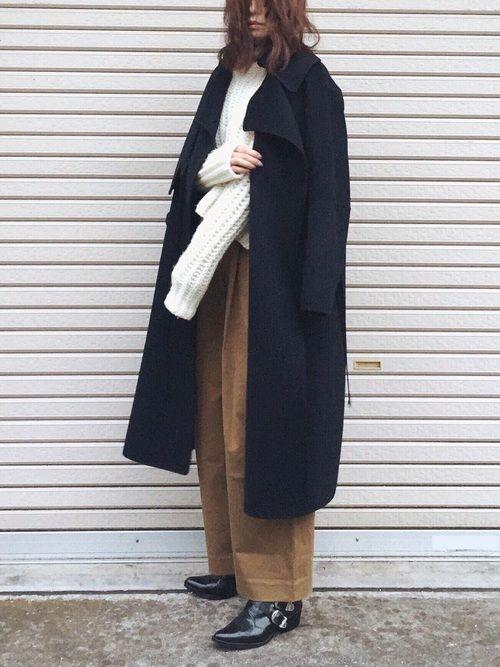 《ワイドパンツ×コート》、《ワイドパンツ×靴》