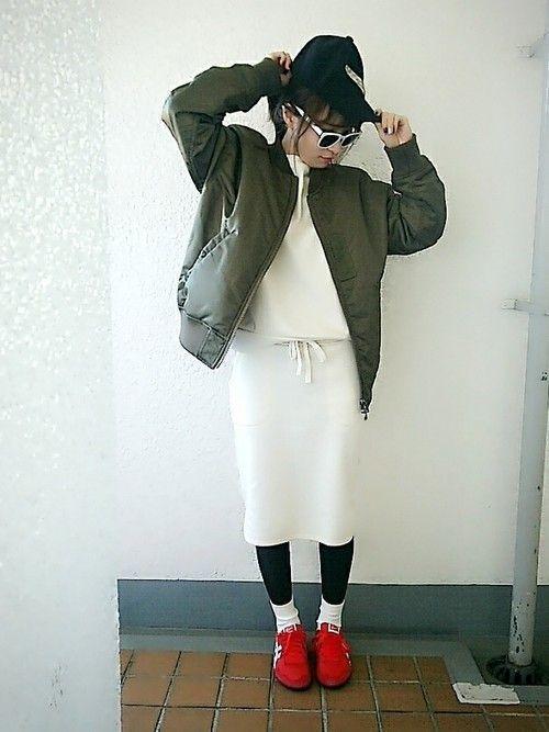 楽ちん【スウェットスカート】を着まわせ♡春夏秋冬コーデまとめの22枚目の画像
