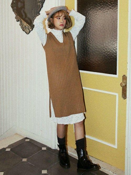 季節を問わず着られる♡ノースリーブニットのおすすめコーデ18選の20枚目の画像