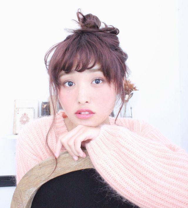 ピンクベージュ×紫×お団子で癒し系に♡