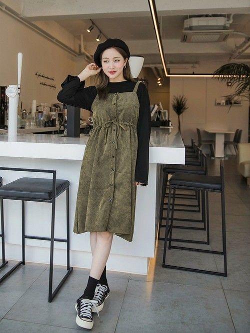 953e8954341eb ブラック×カーキ配色の韓国ワンピースは、甘さゼロで、かっこよくそして大人っぽい印象になりますが、ちょっぴりガーリーテイストを加えたコーデなんです。