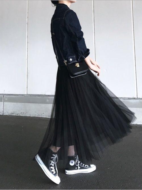 2020年は黒チュールスカートで甘辛MIXコーデに挑戦したい♡