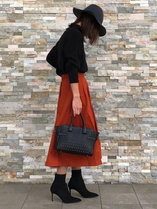 【旬ビタミンカラー】オレンジスカートの着こなしコーデ大特集!の2枚目の画像