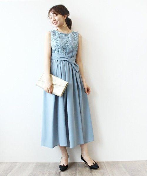 044d84eb944a0 こちらは、丈が長めのブルードレス。 ロングタイプのスカートは大人の雰囲気があってとても魅力的 。ウエストマークは太いリボンのデザインなので、スタイルアップにも ...