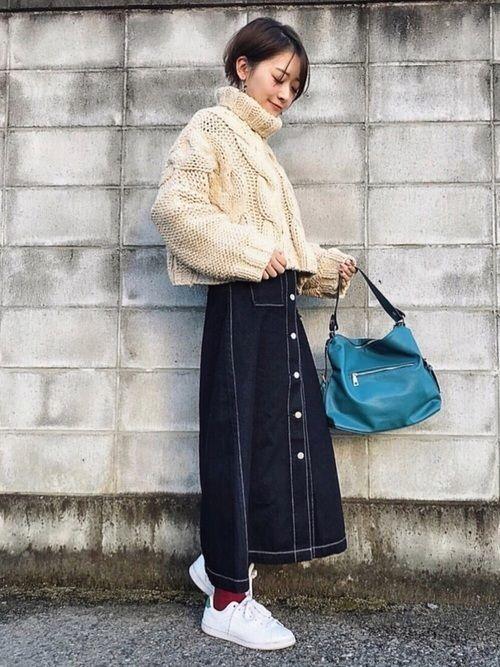 ロング【デニムスカート】で女っぽさを狙う♡カジュアル美人コーデ
