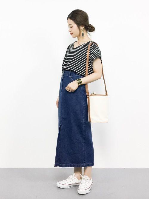 ロング【デニムスカート】で女っぽさを狙う♡カジュアル美人コーデの11枚目の画像