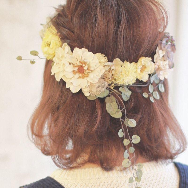 【レングス・髪型別】特別なシーンを彩る「花冠」の簡単ヘアアレンジ