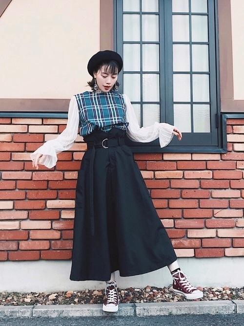 年中使える♡大人コーデは春夏秋冬【黒ロングスカート】にお任せ♪の11枚目の画像