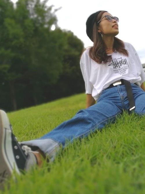 話題のマストアイテム「STUSSY」のTシャツはこう着るべし♡の4枚目の画像