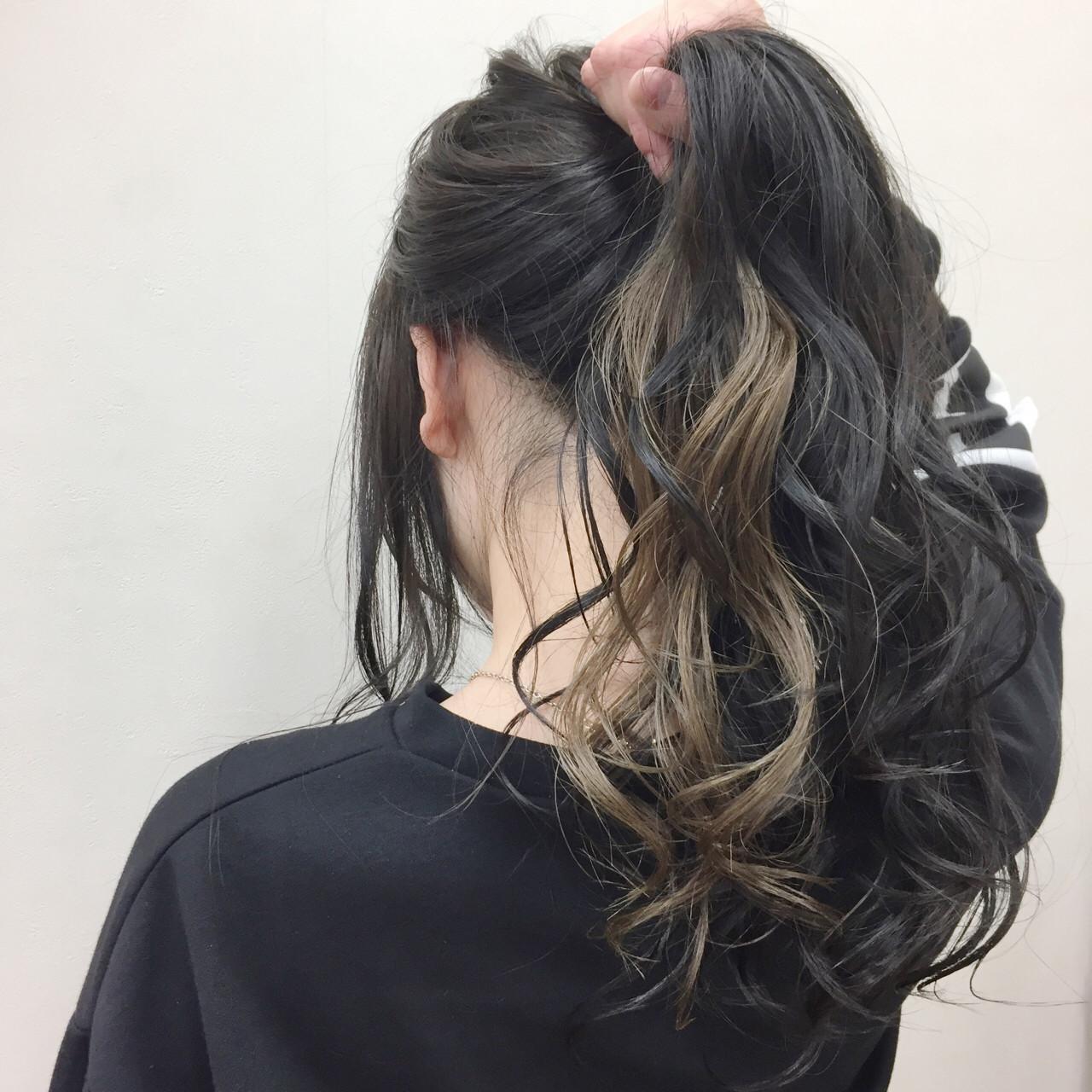 インナーカラー 黒髪