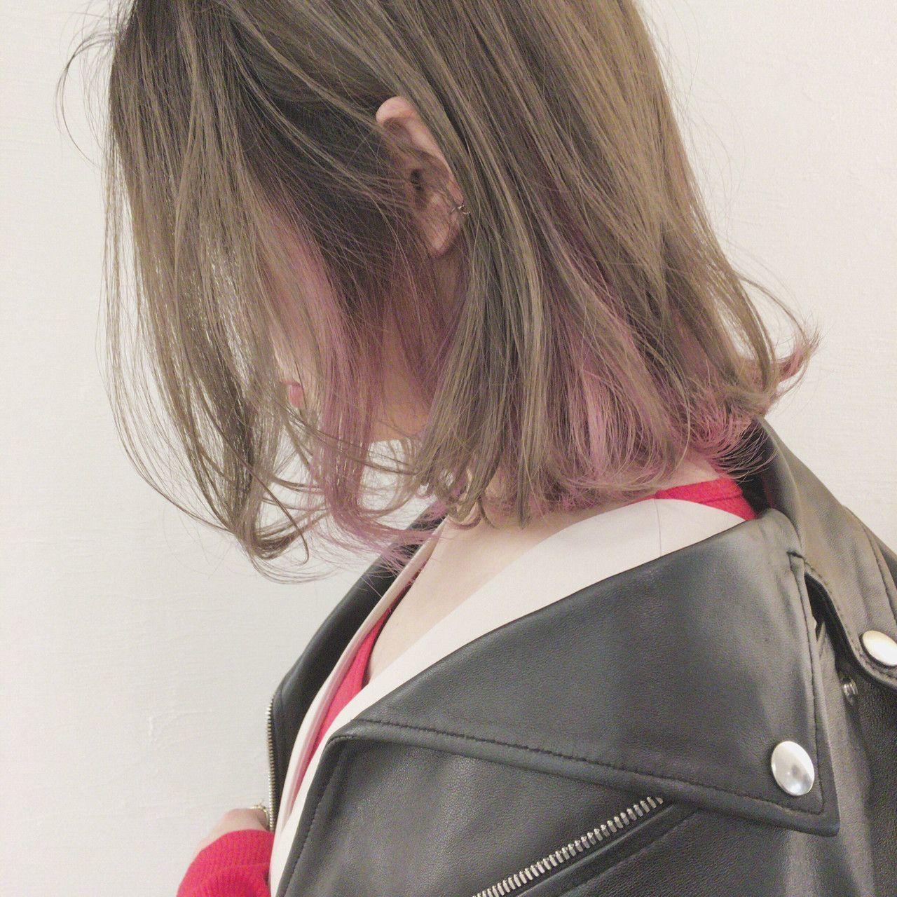 ミディアムさんはがっつりピンクのインナーカラーがおすすめ♪