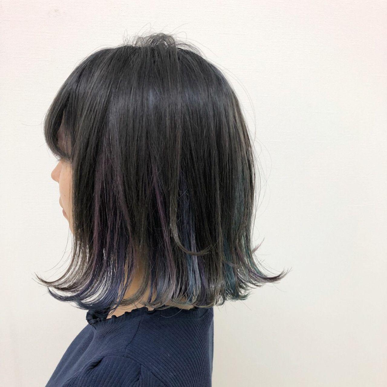 黒髪×青のインナーカラー