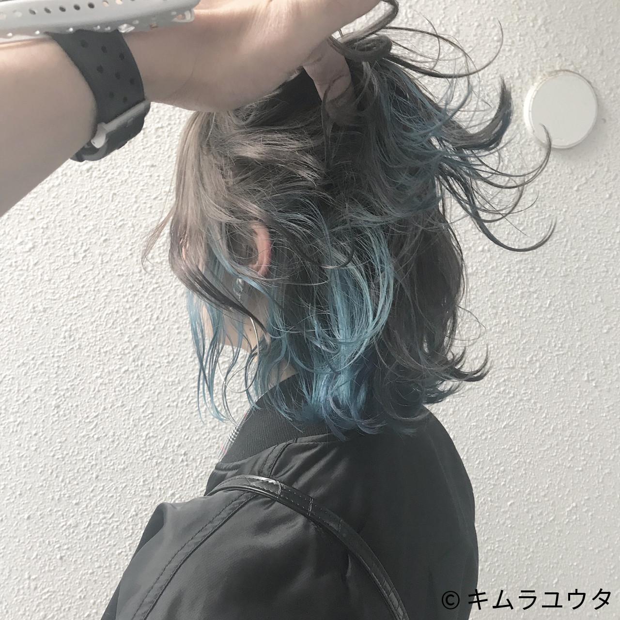 43b96d7195b42 青系のインナーカラーは、色味をおさえた明るめのアッシュカラーの髪に合わせてとことんおしゃれなヘアスタイルにするのもかわいいです♪青系カラーはとくにブルべさん  ...
