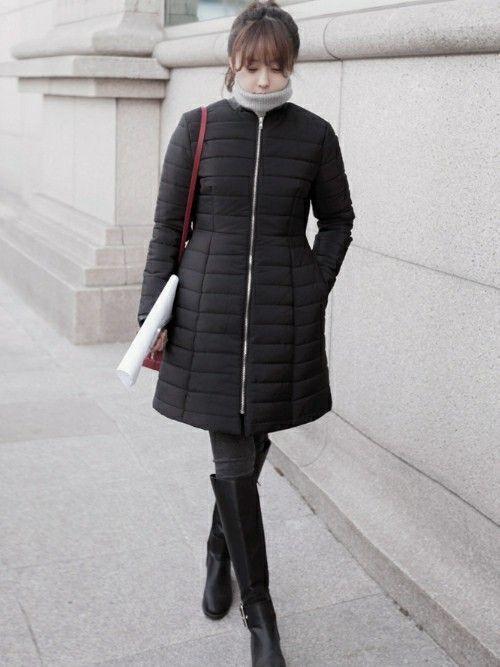 8ed29f90f297f 韓国のレディースブランド、「11AM(イレブンエーエム)」の黒ダウンコートを使ったコーデ。韓国ブランドは、かわいいダウンコートが豊富!
