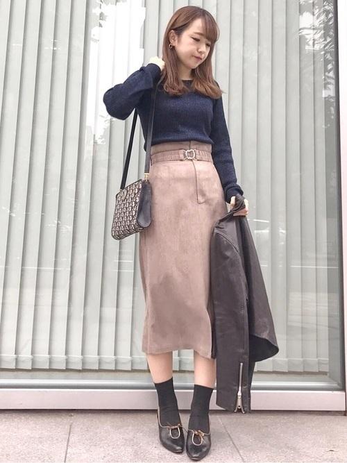 秋冬のスエードスカートコーデ22選&人気スエードスカートご紹介♡の7枚目の画像