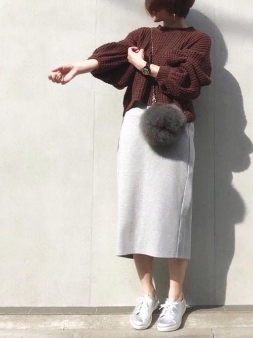 楽ちん【スウェットスカート】を着まわせ♡春夏秋冬コーデまとめの5枚目の画像