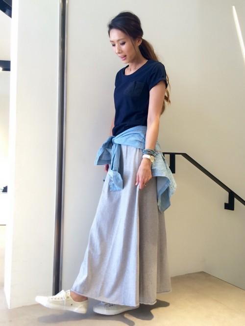楽ちん【スウェットスカート】を着まわせ♡春夏秋冬コーデまとめの8枚目の画像