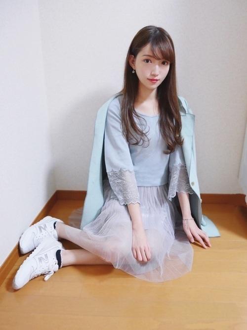 定番アイテムチュールスカート♡2020年おすすめモテコーデ20選の10枚目の画像