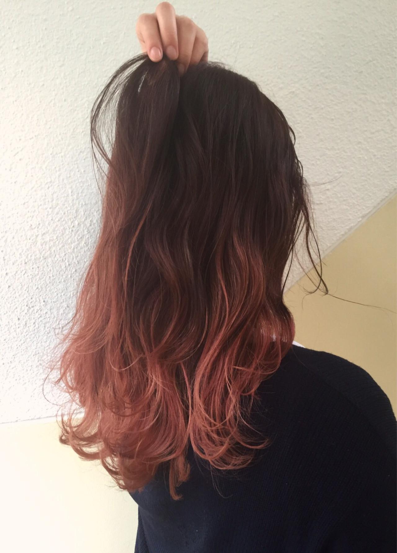 毛先に赤系グラデーションカラーを 思い切ってイメチェンしよう
