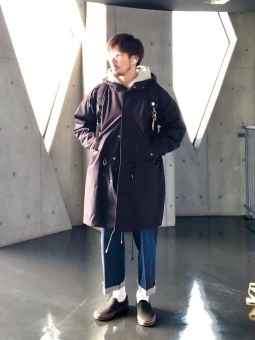 無地の黒モッズコートはこう着こなす!人気メンズコーデ10選の14枚目の画像