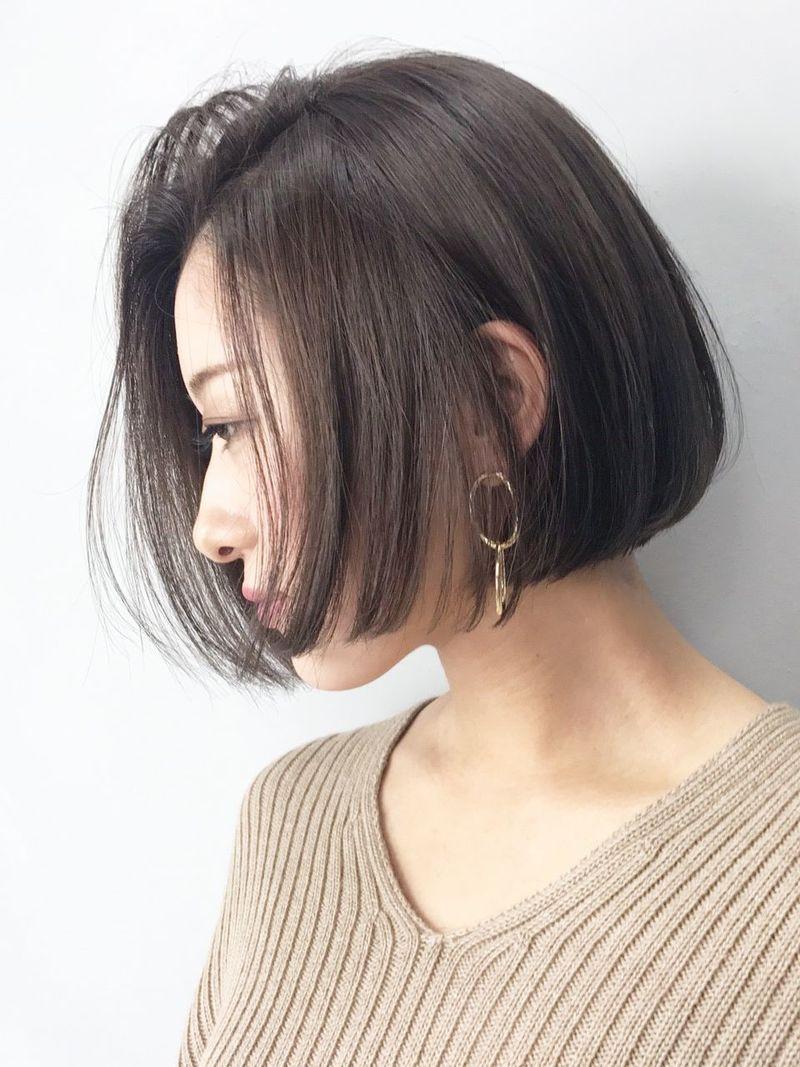 前髪 なし ワンレンボブ