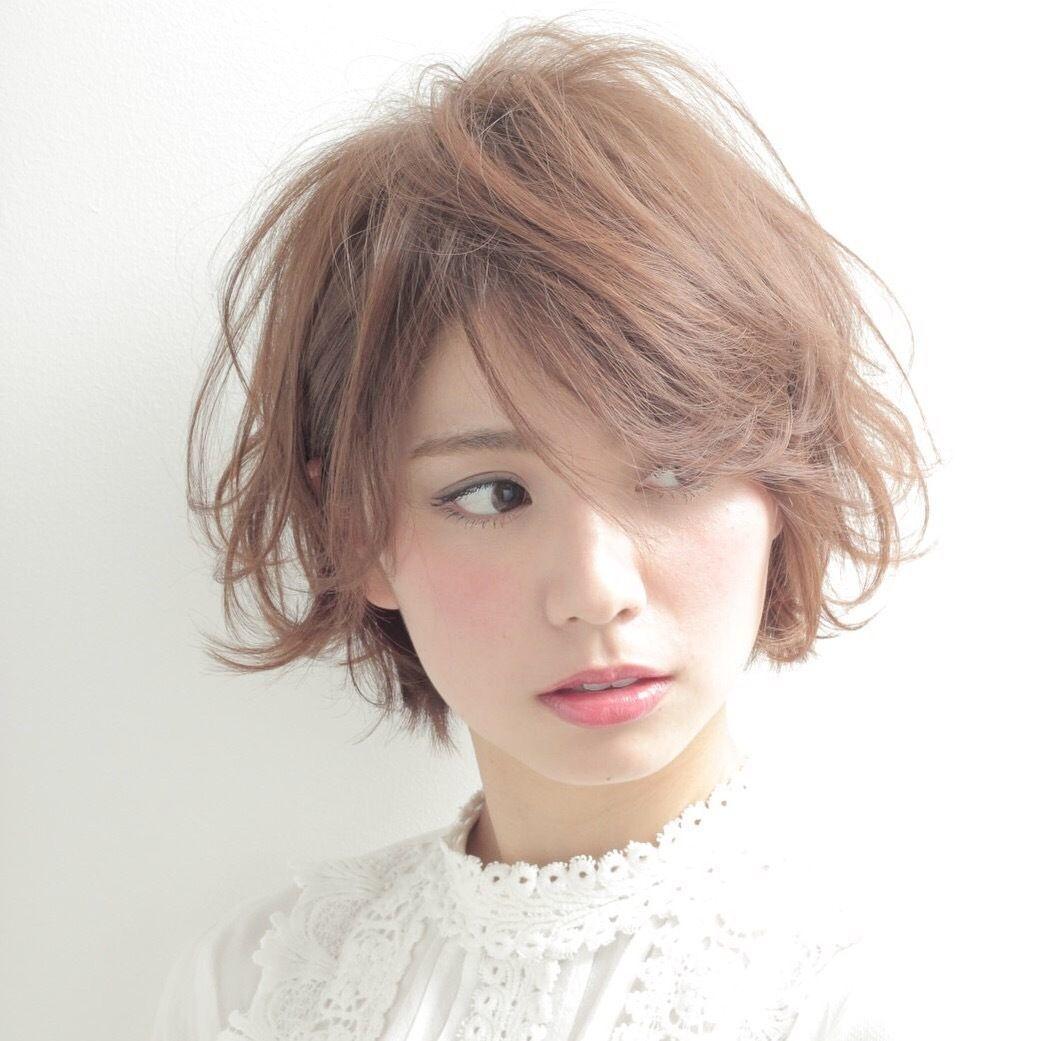 #ショートボブ #流し前髪 #ガーリー #キュート #オレンジヘア