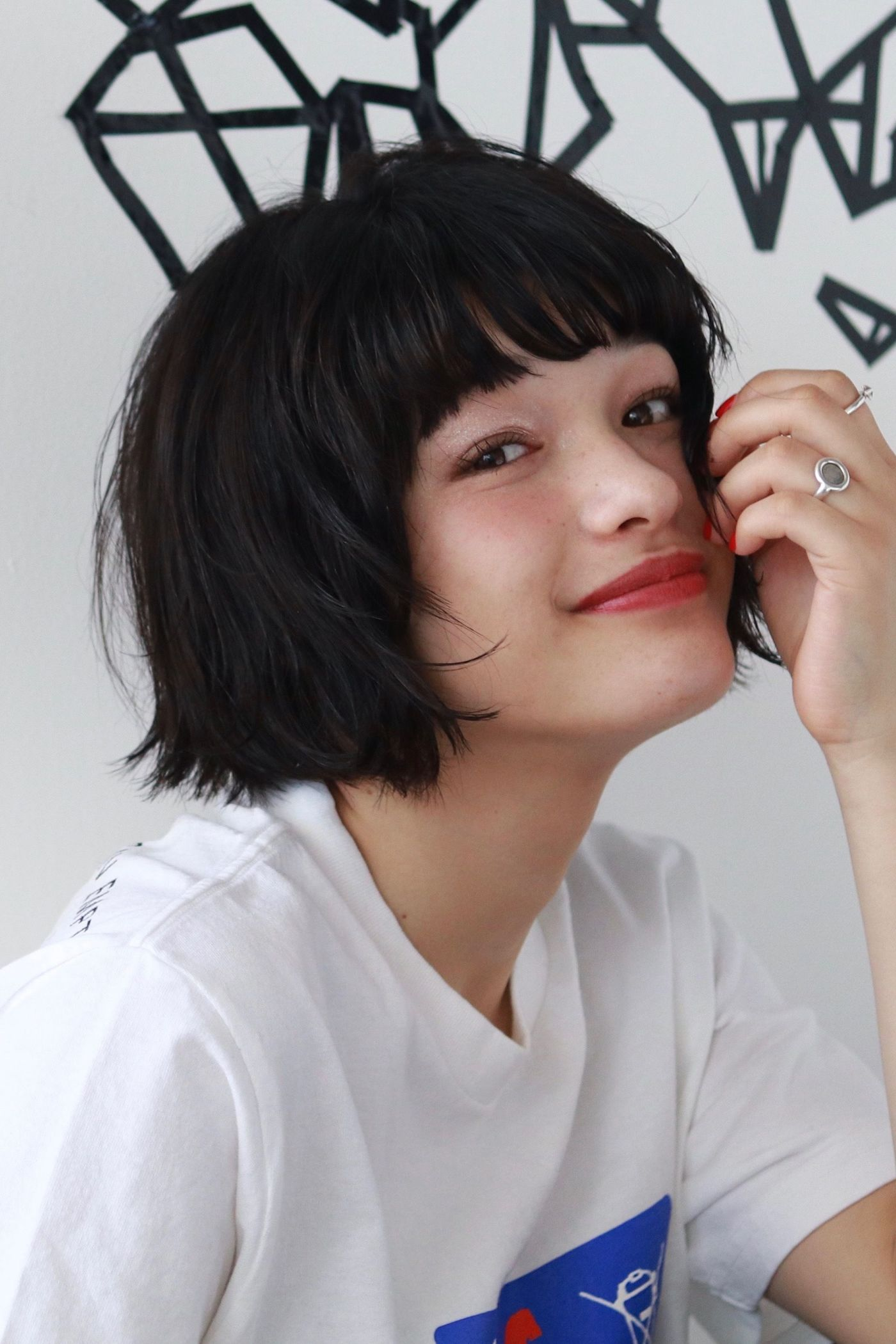 #ショートボブ #黒髪 #ぱっつん #ガーリー #キュート