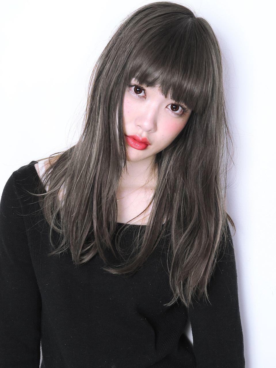 #ロング #アッシュ #ぱっつん #ナチュラル