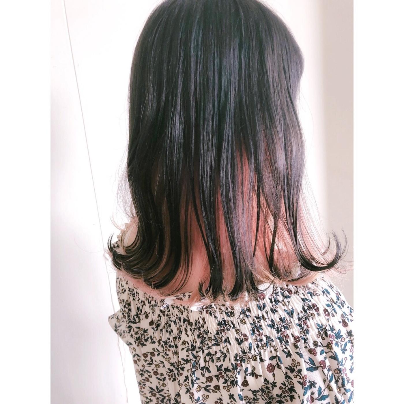 インナーカラー ピンクオレンジ