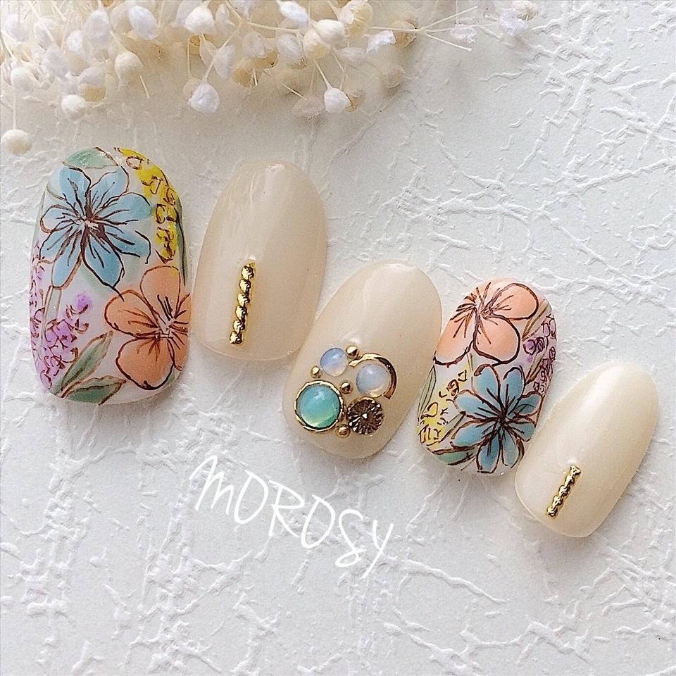イエローベージュのワンカラーと手描きのカラフルフラワーネイルです☆ 幅広い季節でお使い頂けます。 春~秋のシーズン、パーティー、お呼ばれネイル等におすすめです♪   #MOROSY #ネイル #ネイルチップ  #シンプルネイル #オーダーネイル #ネイルデザイン #nails #nailart #ネイルアート #ハンドメイド #オーダーチップ #オーダーネイルチップ  #ブライダルネイル #ウェディングネイル  #プレ花嫁 #結婚式 #結婚式準備  #creema #minne #メルカリ #ラクマ #花柄ネイル #水彩 #アートネイル #手描きネイル #フラワーネイル #秋ネイル