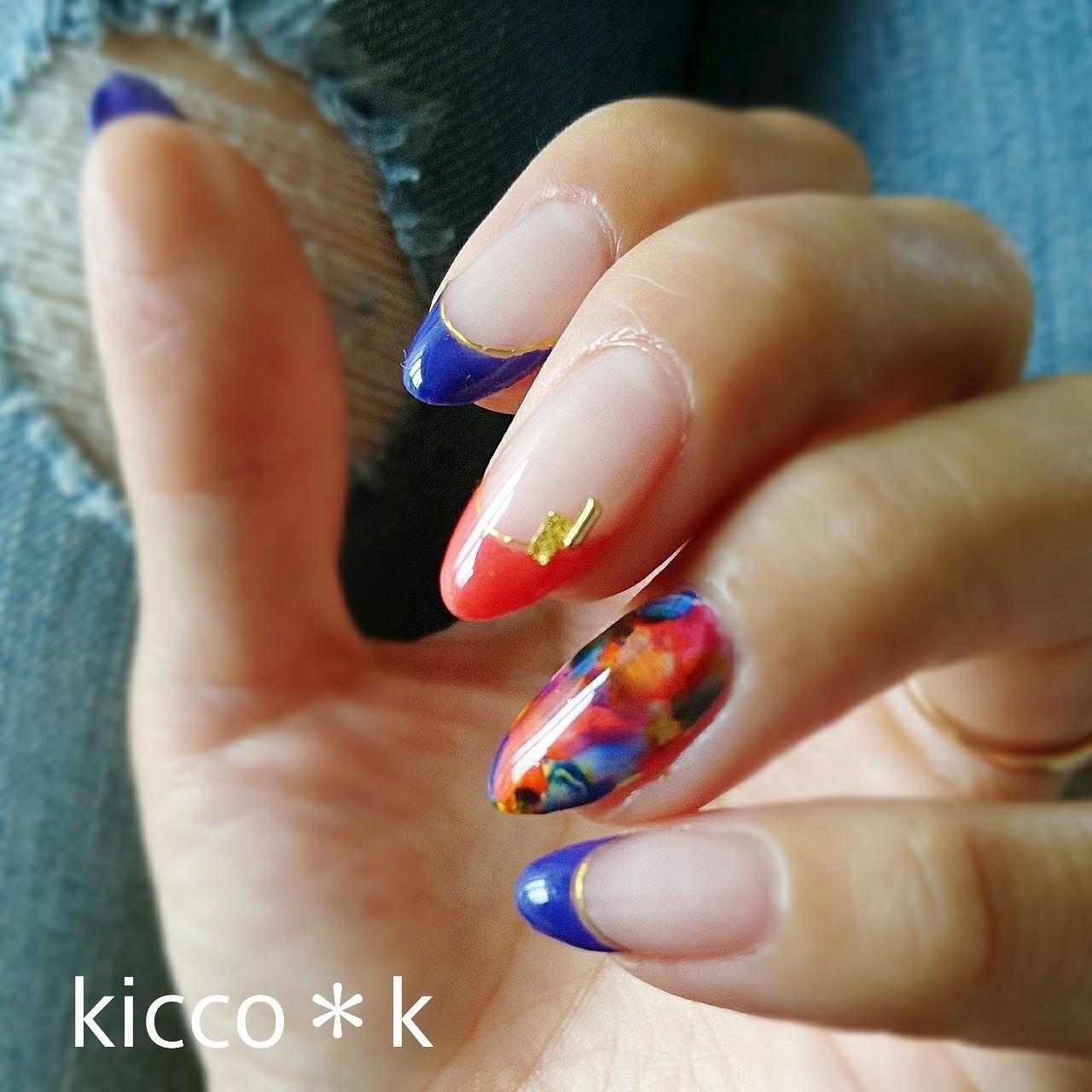 ブルー×レッド  #フラワーネイル #ニュアンスアート #フレンチネイル  #nail #naildesign #nailstagram #gelnail #ネイル #ネイルデザイン #大人ネイル #自宅サロン #kicco_k