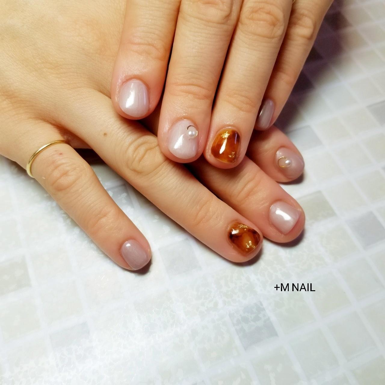 #nails #ジェル #ジェルネイル #ネイル #ネイルサロン #ネイルデザイン #ハンド #上品ネイル #大人ネイル #大人可愛い #べっ甲ネイル #パール