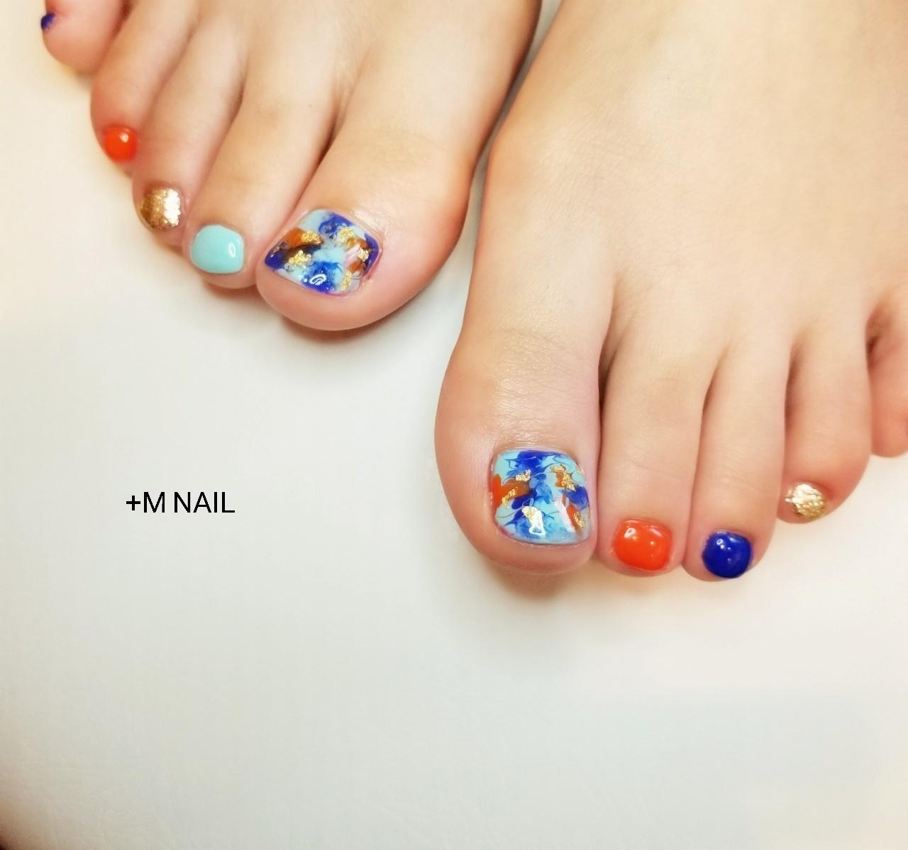 #nails #ジェル #ジェルネイル #ネイル #ネイルサロン #ネイルデザイン #大人可愛い #フットネイル #タイダイネイル #カラフルネイル #カジュアルネイル