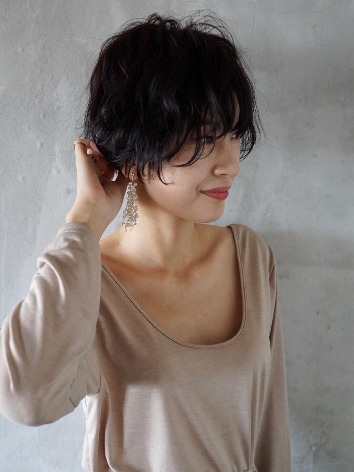 #カジュアル #ファッション #ショートヘア #大人ショートヘア #黒髪ショートヘア #ラフ