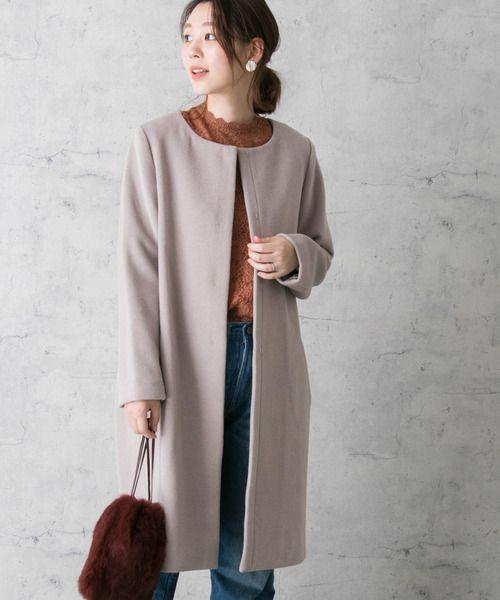 【コーデ集】ノーカラーコートの着こなし12選♡グレーなど5色 ...