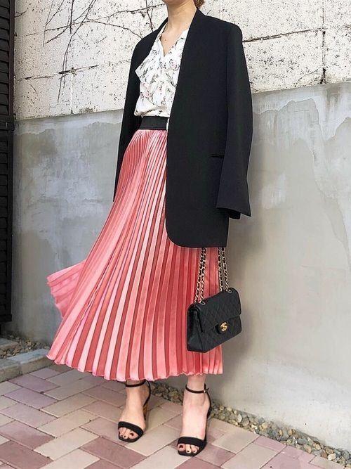 ピンクスカートのコーディネートで色を仕込む♡春夏秋冬42選紹介